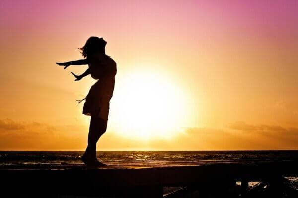 woman, silhouette, sunset